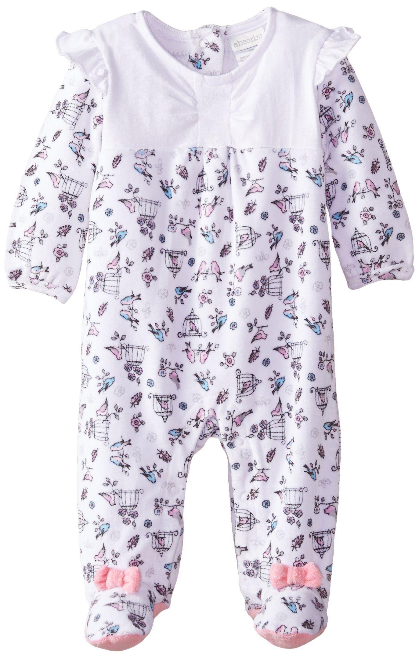 978da3d08540 Amazon.com  ABSORBA Baby-Girls Newborn Bird Print Velour Footie ...