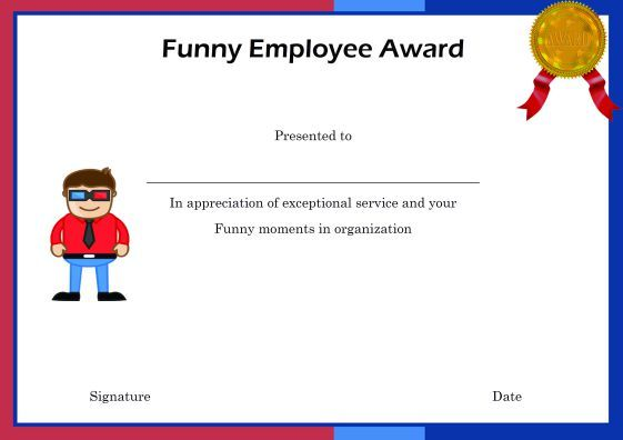 FreeFunnyEmployeeAwardPrintableCertificate  Employee Of The