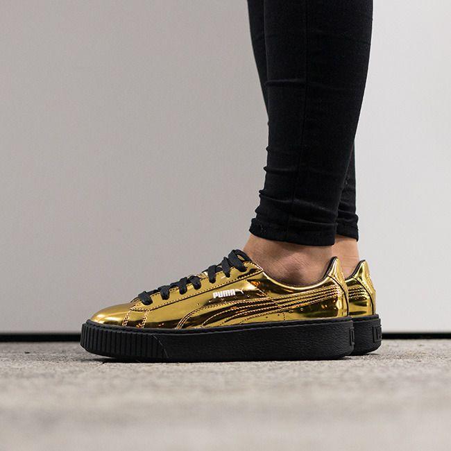 puma basket platform metallic sneaker