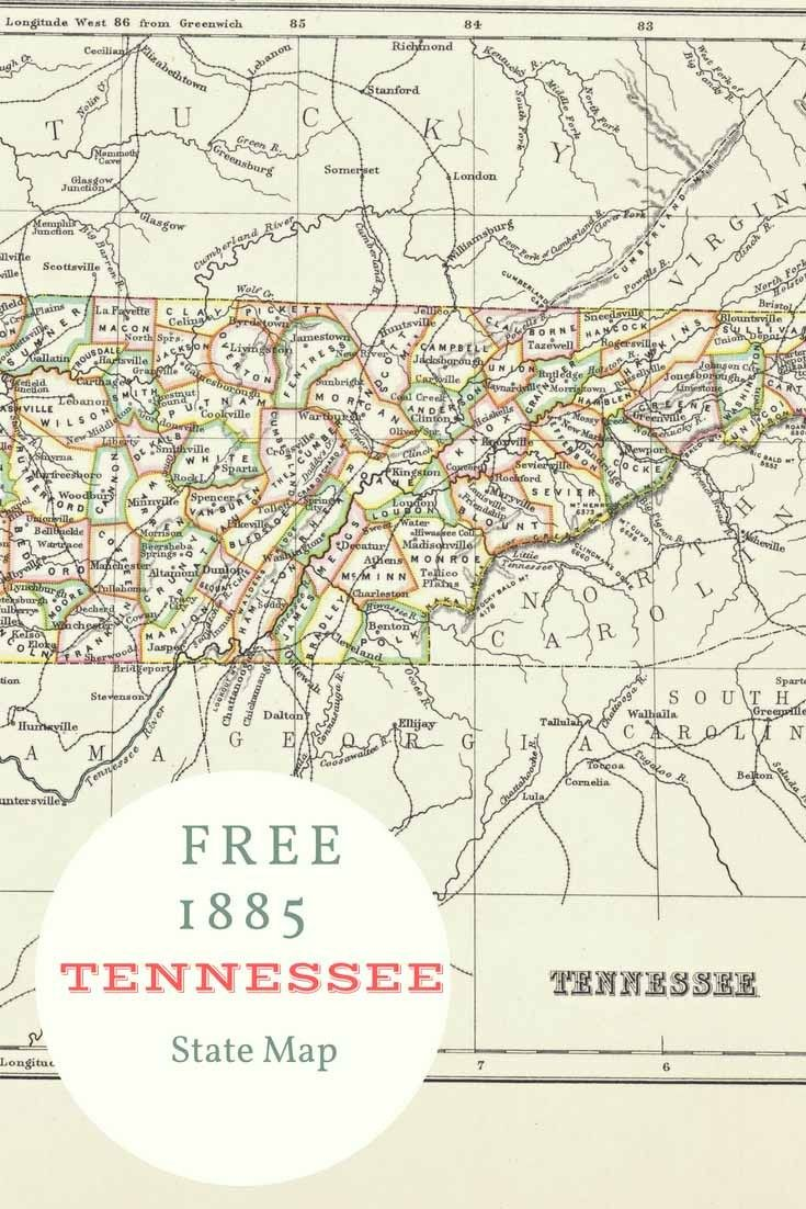 Free printable old map of Tennessee from 1885. #map #usa | Maps and ...