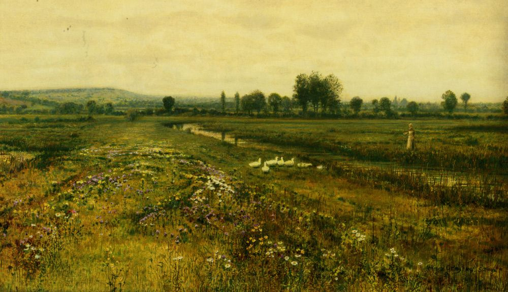An Extensive Meadow Landscape with Geese by a Stream  Artist: John Atkinson Grimshaw