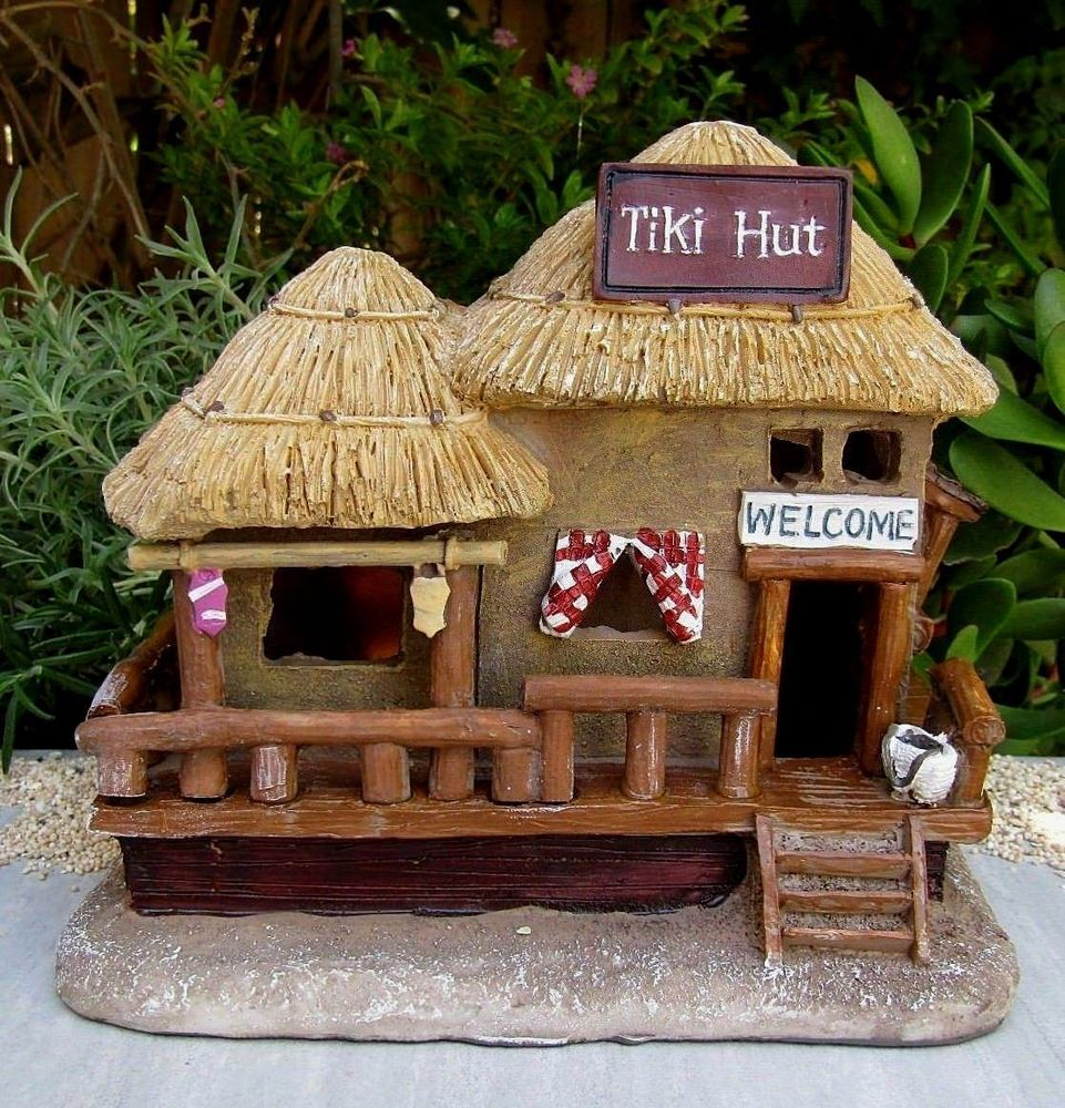 Miniature dollhouse fairy garden mini beach sea tiki hut house w