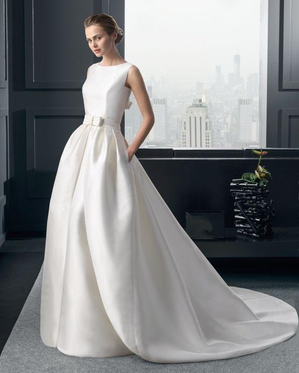 foto 4 de 24 rima: vestido de novia en mikado con sobre falda con