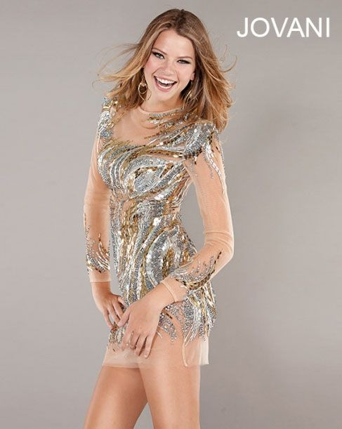 Jovani 2013 Gold and Silver Sheer Short Long Sleeved Sequin Prom ...