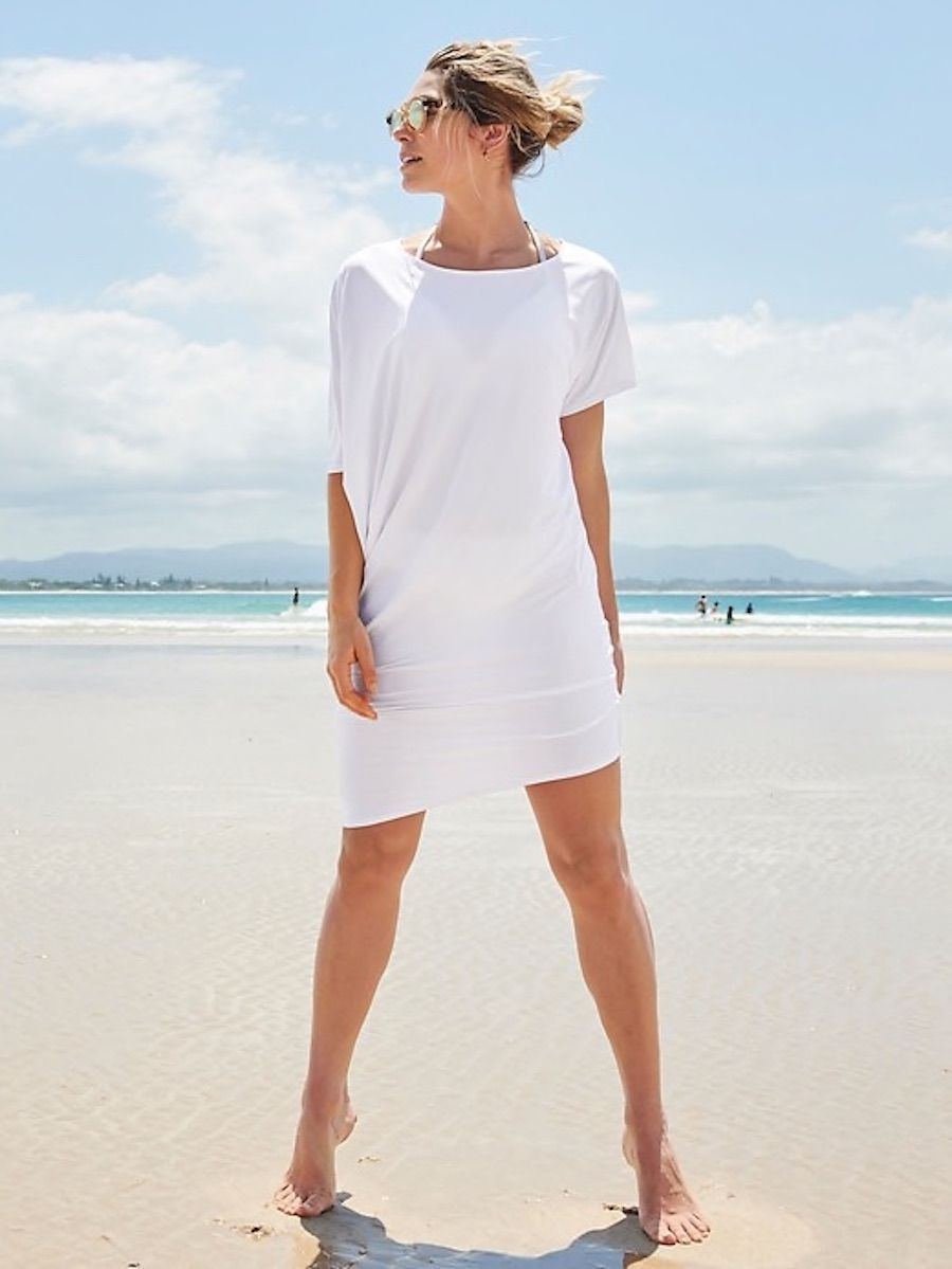 774e48c01c 7 stylish pool and beach coverups for women: Hi-Lo T-shirt dress at Athleta  has SPF in the fabric