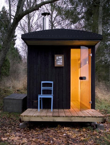 London architects Denizen Works + Friends designed the mobile sauna on site and constructed it in just nine days using locally sourced timber and recycled windows.