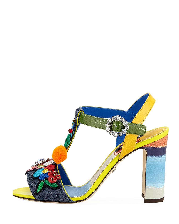 cee05d14d79 Dolce   Gabbana Flower Patch Embellished Block-Heel Sandals ...