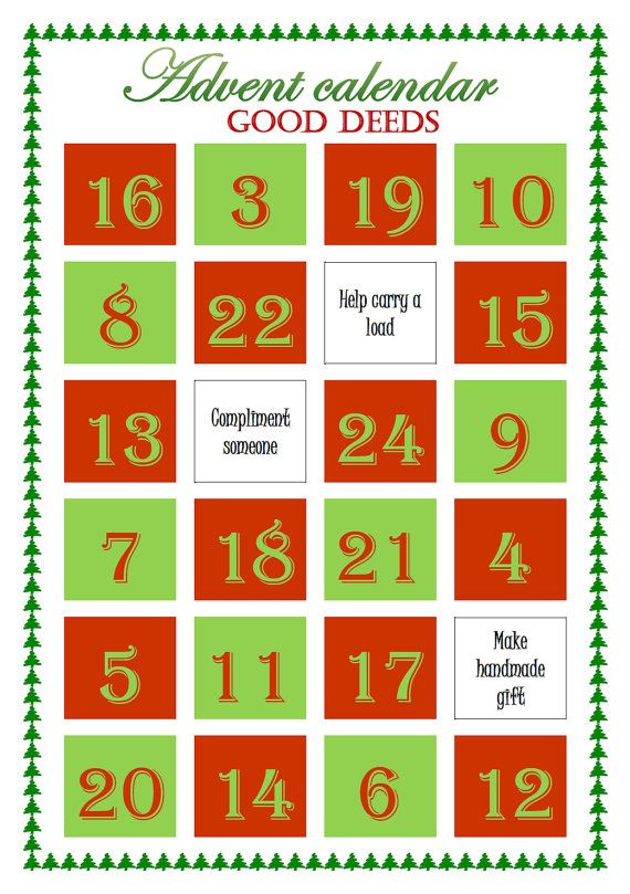 Christmas Good Deeds Advent Calendar Printable Calendar Advent Calendar Printable Advent Calendar