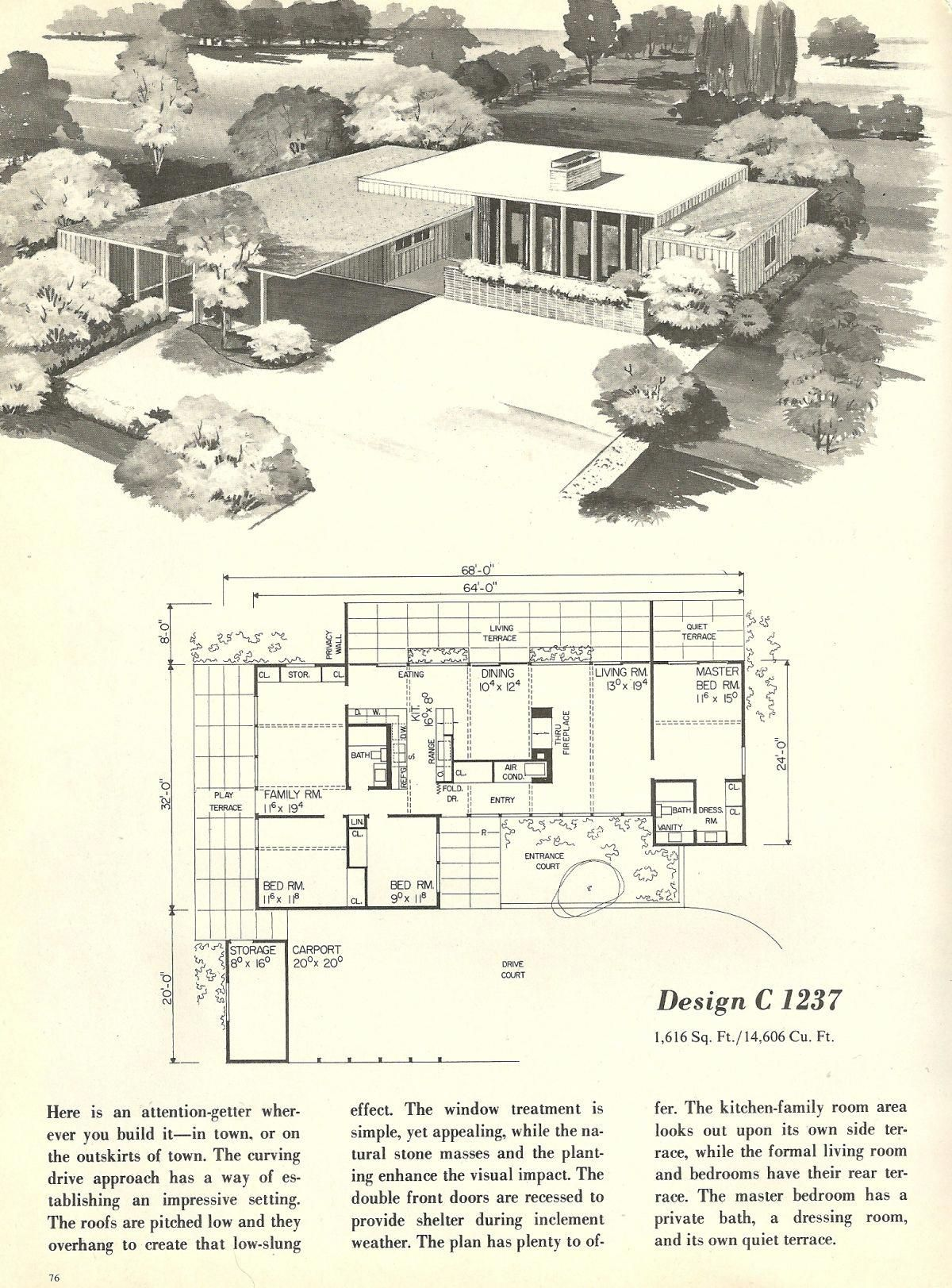 Vintage House Plans 1960s Homes Mid Century Homes And Almost