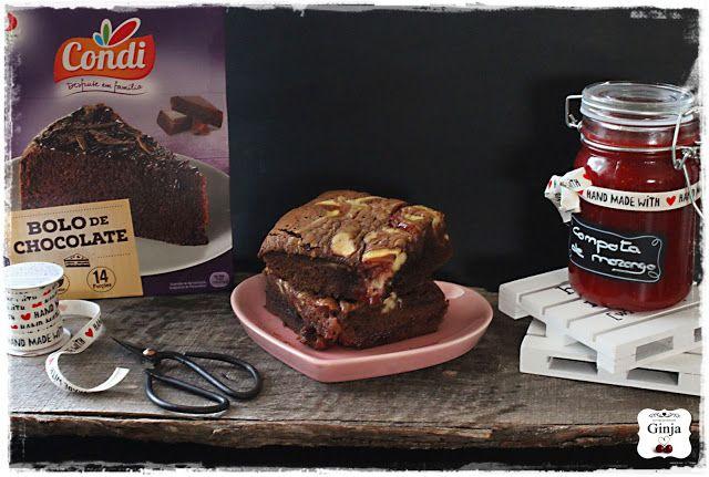 As várias faces da Ginja: Bolo de chocolate marmoreado com cheesecake de morango
