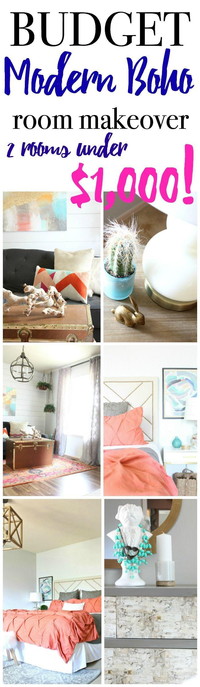 Budget Boho Room Makeover – She Den Source List - Living Room Decor ...