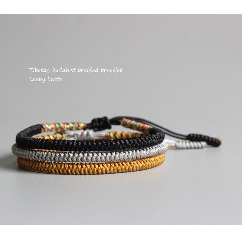 785aa03dd7b37 Rope Tibetan Buddhist Handmade LUCKY KNOTS Bracelet with Adjustable TB098  Pearl Jewelry