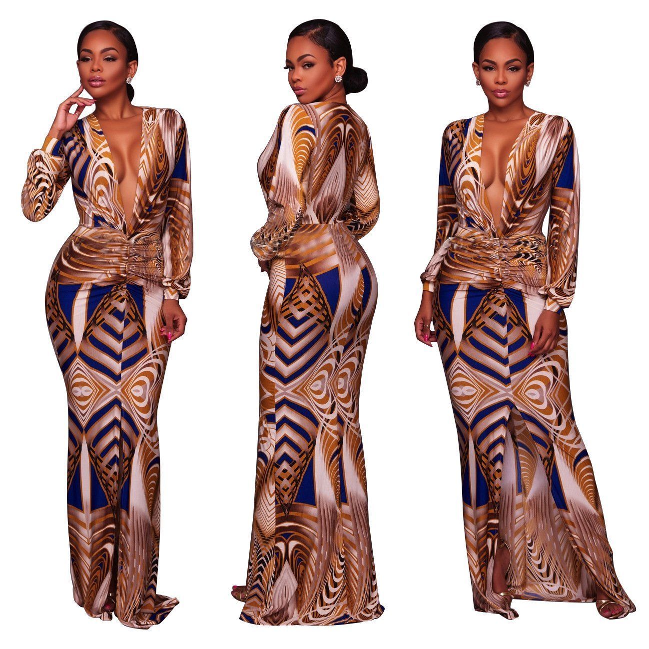 Deepv print maxi dress with long sleeves products pinterest