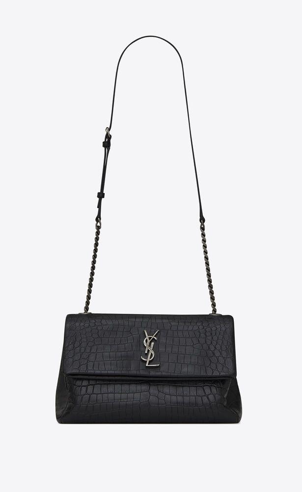 df4fbe691 SAINT LAURENT West Hollywood Woman medium west hollywood bag in black  crocodile embossed leather a_V4