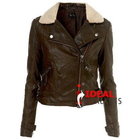 Women's Dark Brown Leather Jacket With Fur Collar | IdealJackets ...