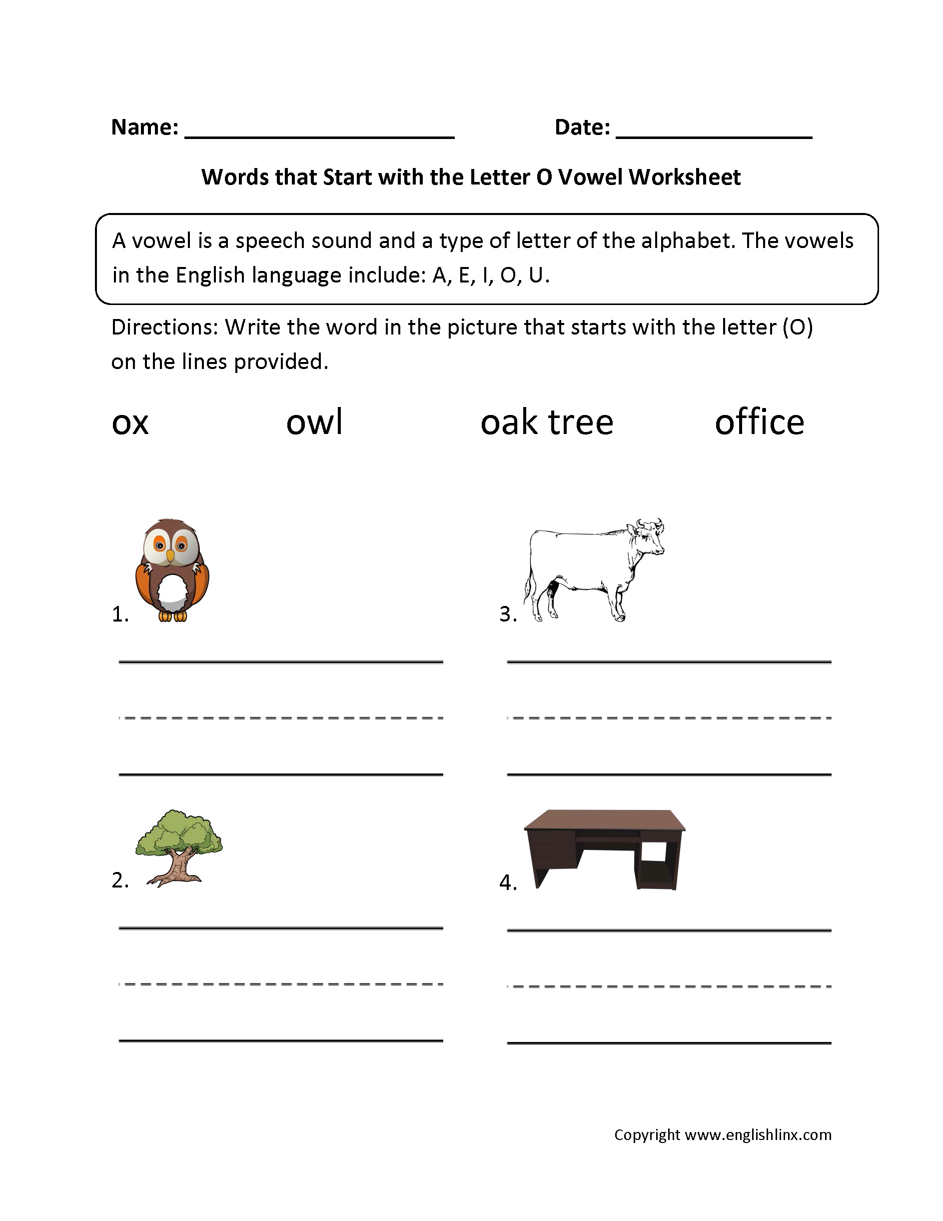 Words Start Letter O Vowel Worksheets