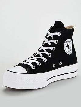 converse black chuck taylor all star lift hi trainers
