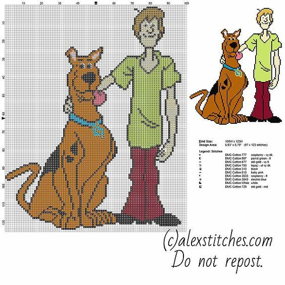 Scooby Doo And Shaggy Characters From Cartoon Scooby Doo Free Cross