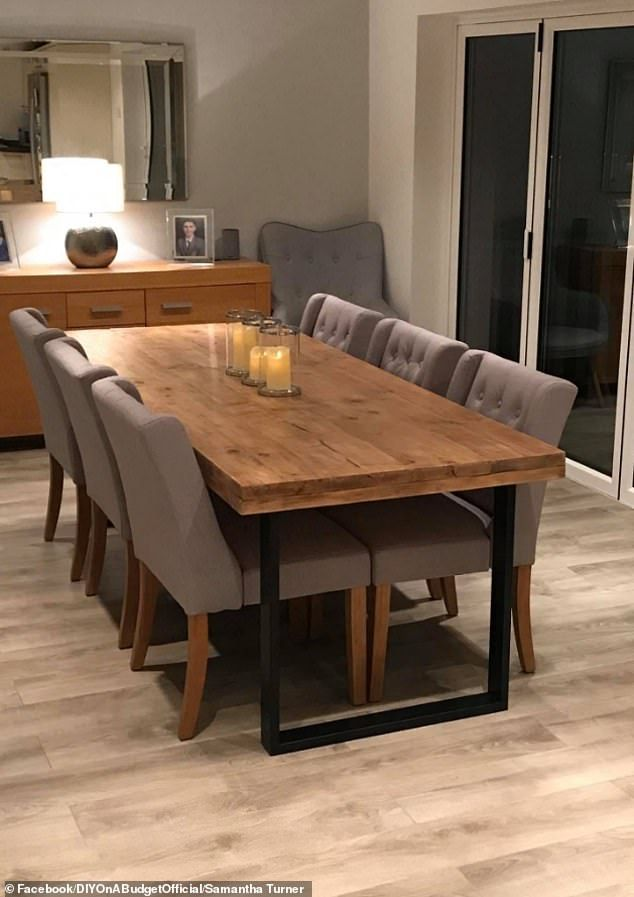 Savvy homeowner makes dining table out of scaffolding planks (and it cost just £90)