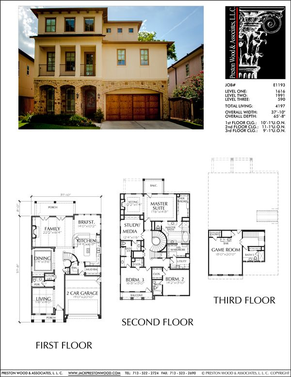 2 1 2 Story Urban House Plan E1193 With Images Architectural
