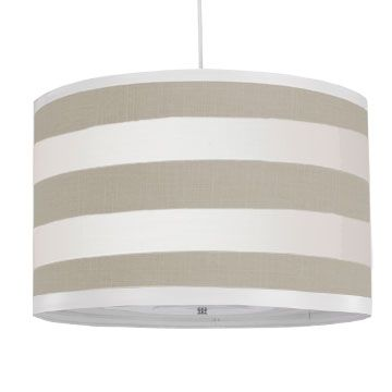 Striped Large Cylinder Pendant in Taupe