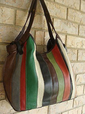 Lucky Brand Patchwork Leather Multi Col Shoulder Tote Slouch Hobo Purse Bag Boho Ebay