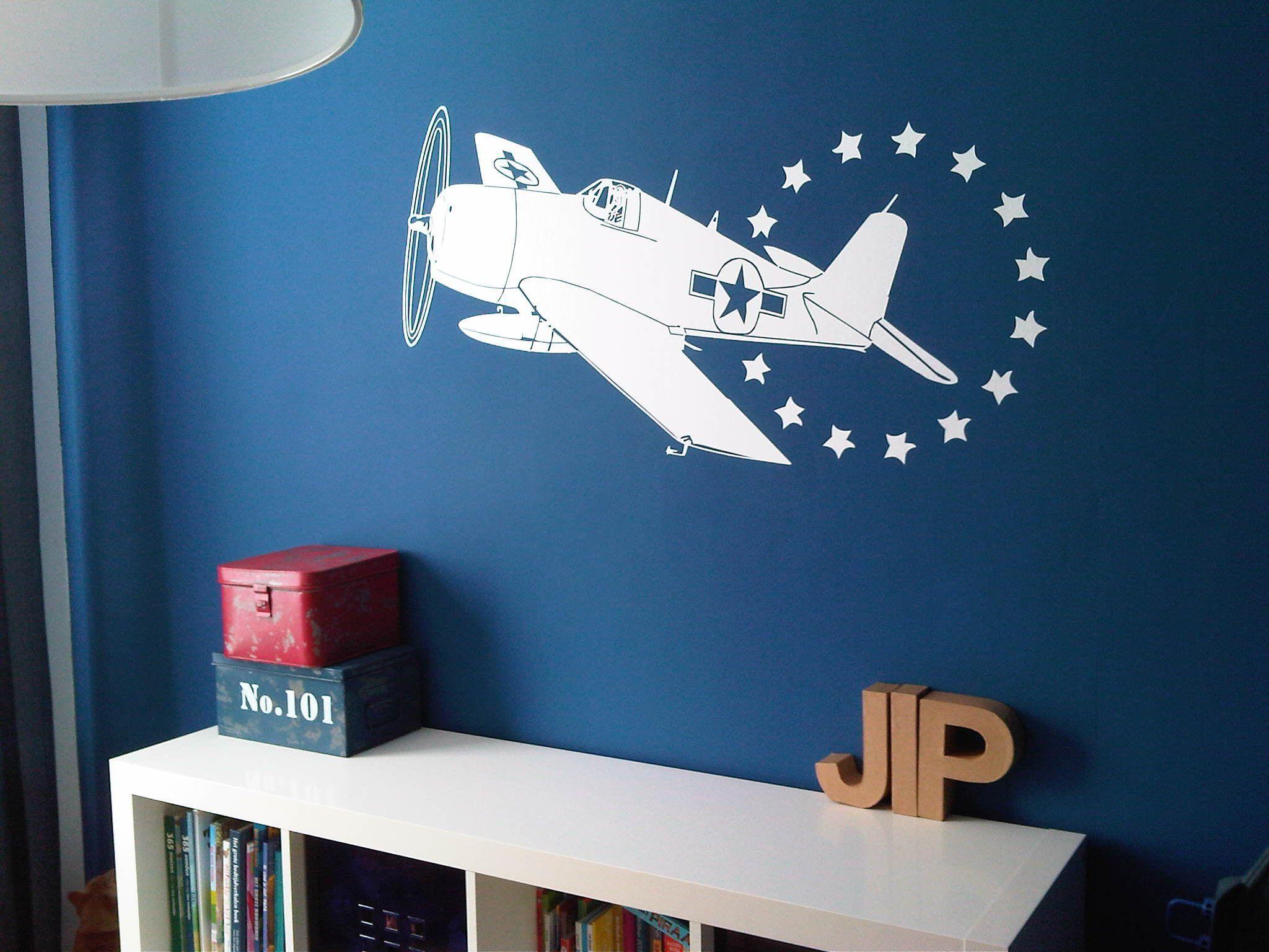 met deze muursticker vliegtuig wordt de kinderkamer in een, Deco ideeën