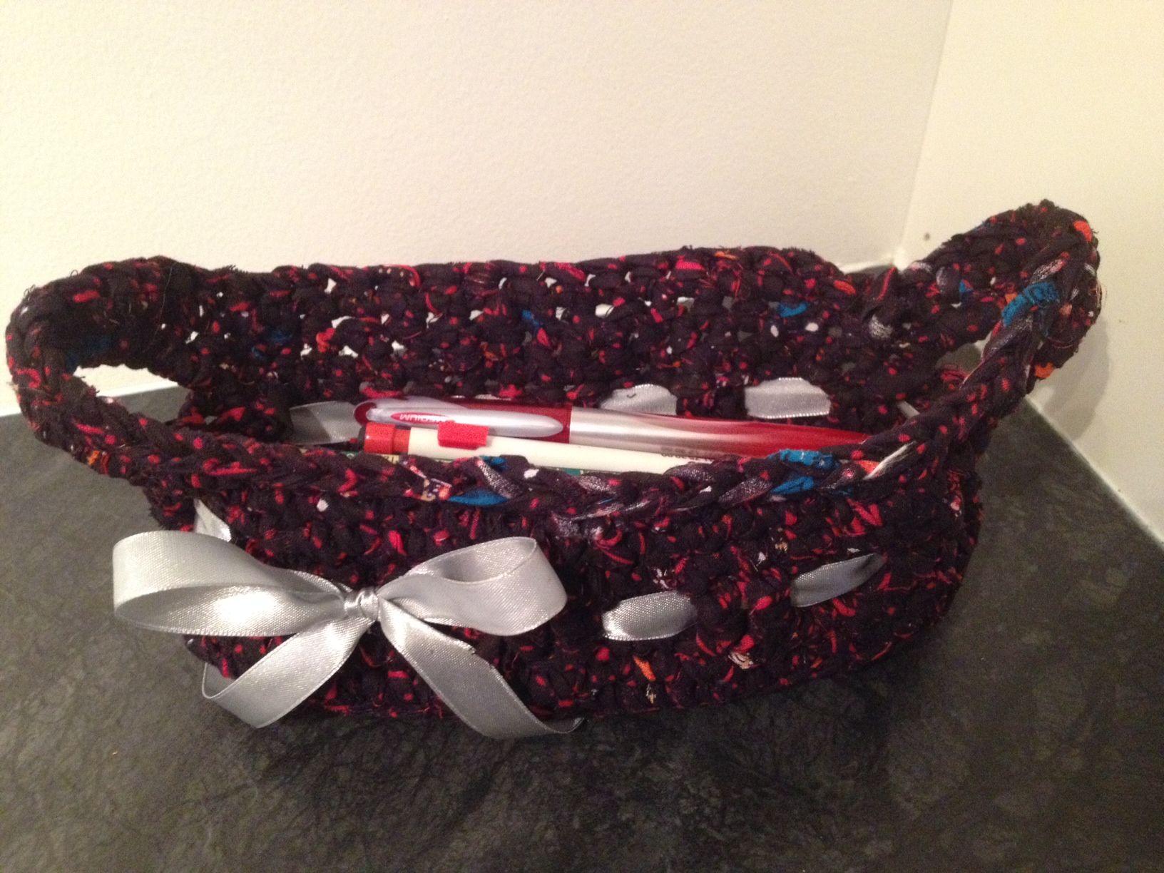 Crochet basket for pens.