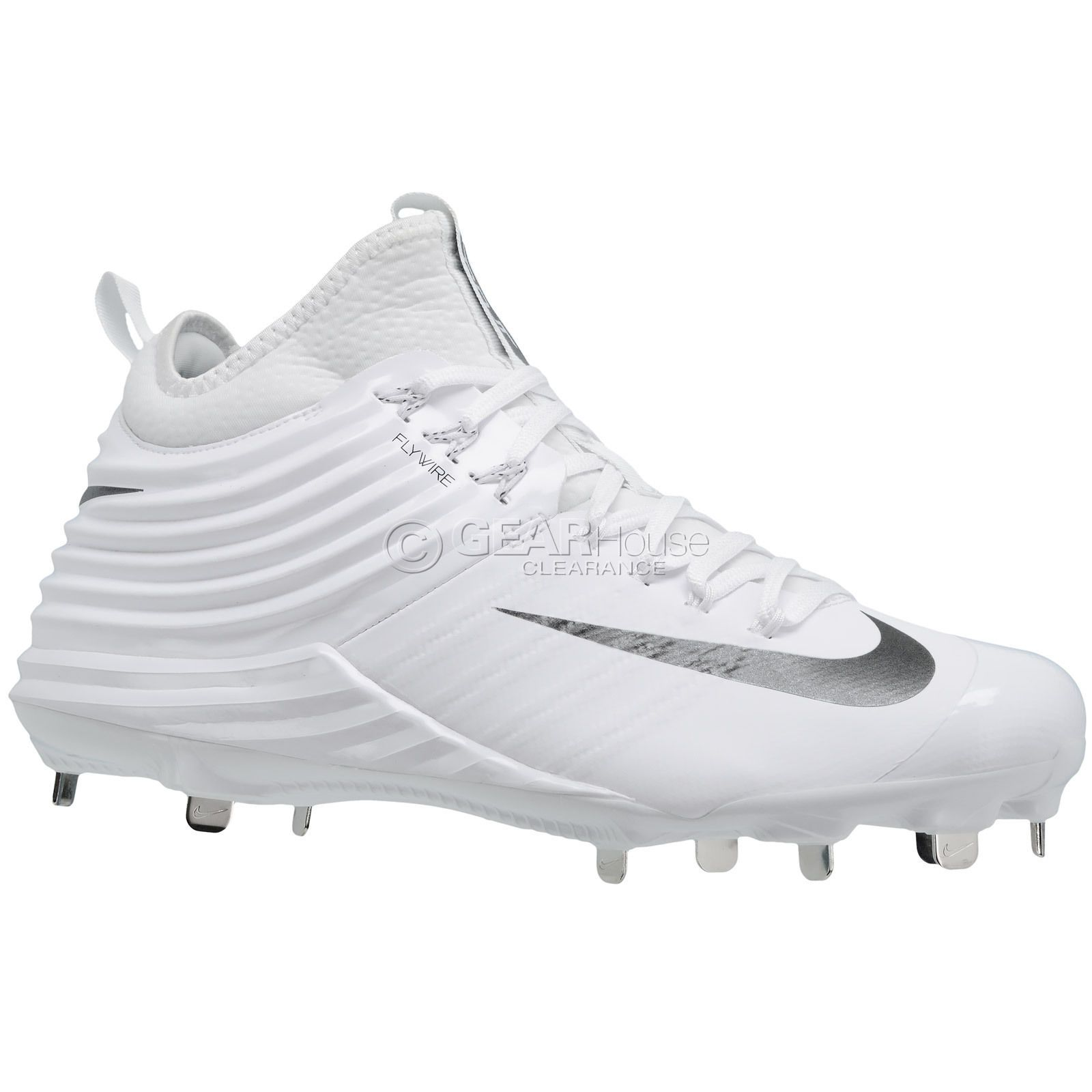 New $140 NIKE Lunar Trout 2 Mid Metal Mens Baseball Cleats : White