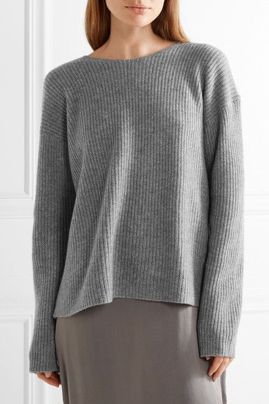 a7f934682d2 Theory - Twylina Split-back Ribbed Cashmere Sweater - Gray - x small