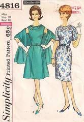1960's Simplicity 4816 Cowl Neckline Dress, Stole Pattern B40