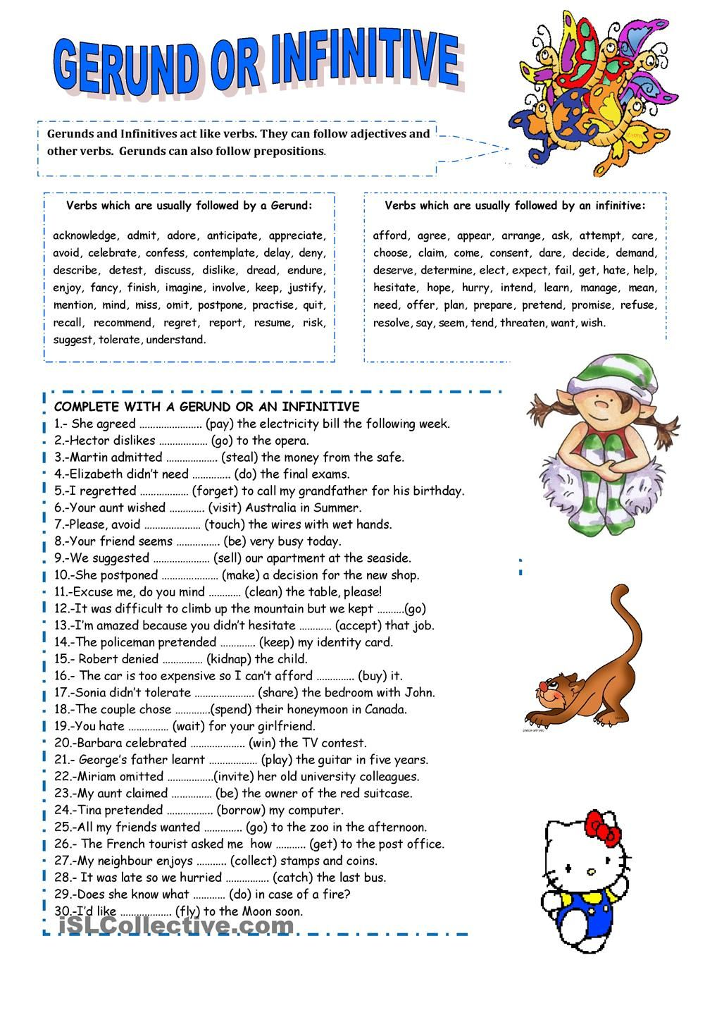 Free Worksheet Gerunds Worksheet infinitive for kids worksheets gerunds and infinitives exercise this is the first part of a set planned to help my students with use gerund or after some most common ve