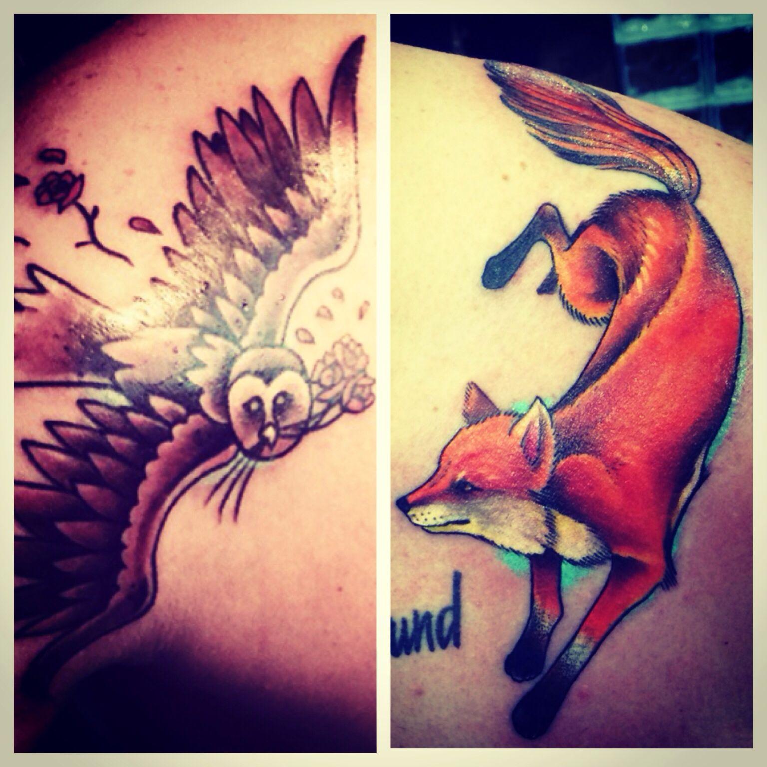 Fox Owl Tattoos Owl Tattoo Animal Tattoo Tattoos