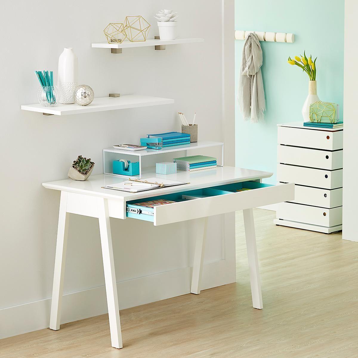 White Cache Desk Desks For Small Spaces White Desk Office White Desks White desks for small spaces