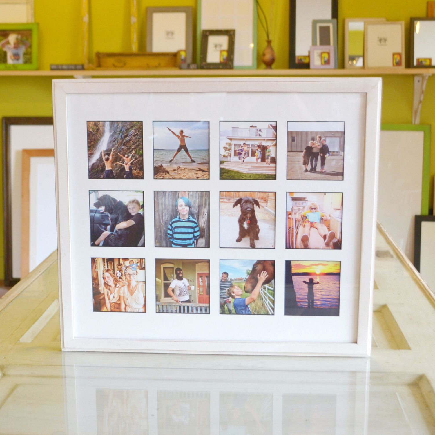 collage frame 1925 x 165 1x1 outside cove style with mat windows for 12 - Window Collage Frame