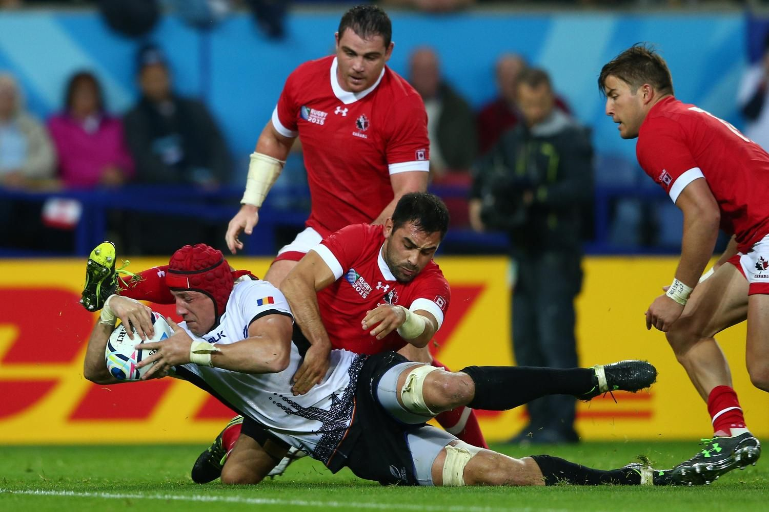 Canada 15 17 Romania Rwc2015 Can Vs Rom Rednation Vs Rugbyromania It S The Moment That Changes The Match As Mihai Macovei Gets Down To Score His Second