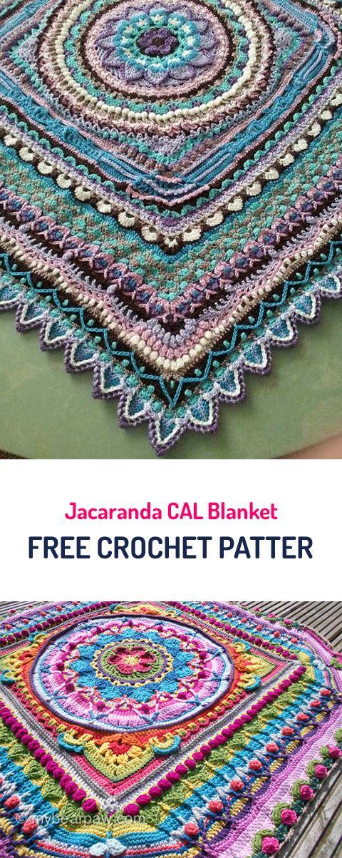 Jacaranda CAL Blanket Free Crochet Pattern #crochet #crafts #homedecor #home  #style
