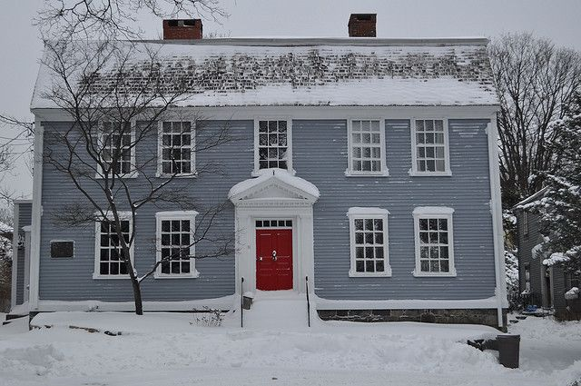 Blue House With Red Door Colonial House Exteriors Red Door