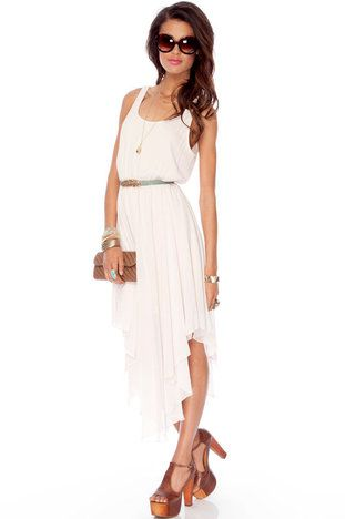 Blanca Belted Tank Dress in Off White