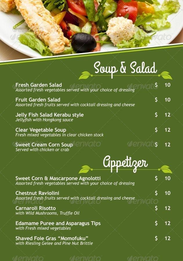 Vegetarian Restaurant Menu Poster Menu Restaurant Vegetarian Restaurant Vegetarian