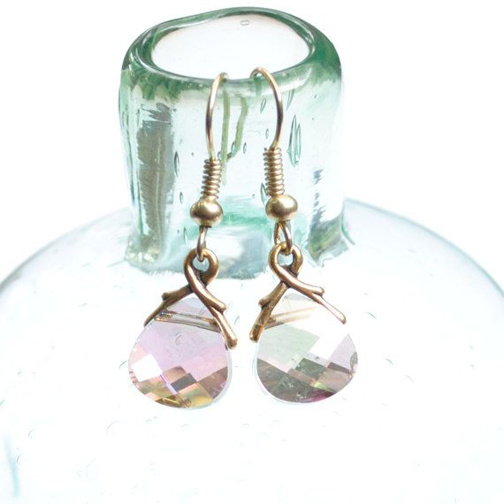 Smoky Lilac Swarvoski and Gold Branch Small Dangle by kspdesigns, $17.00