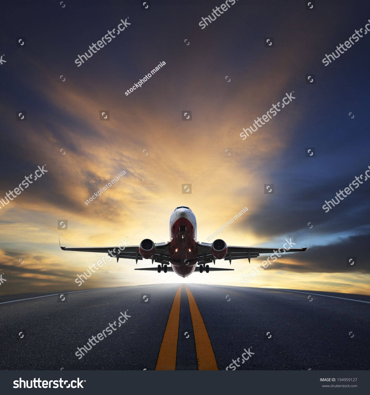plane taking off from airport runways for traveling and