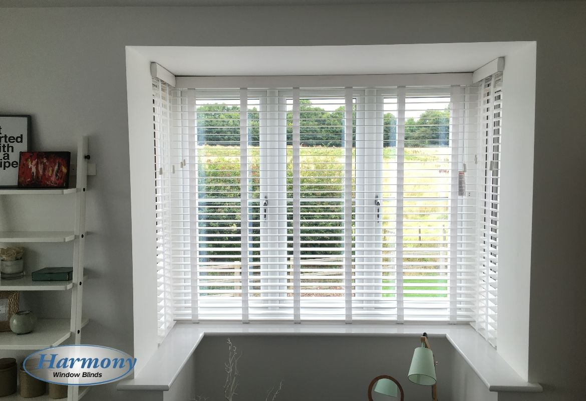 White Timber Blinds White Wooden Blinds With Tapes In A Box Bay Window Wooden Blinds