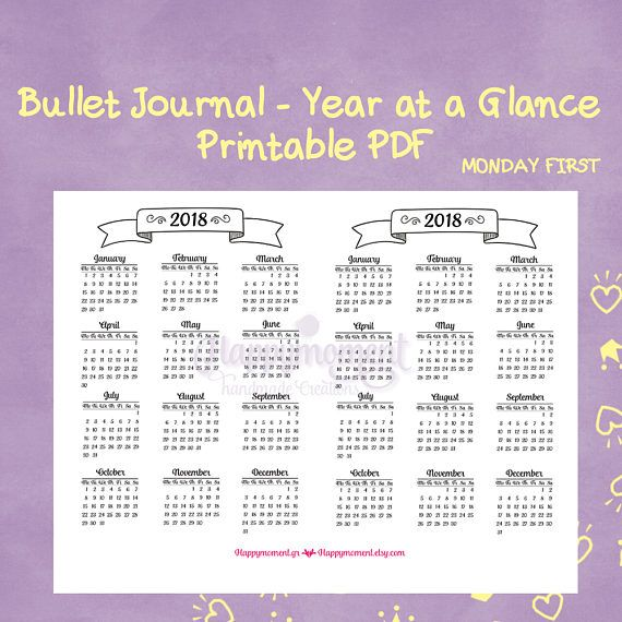 bullet journaling 2018 year at a glance calendar printable sticker monday first a5 size bujo inserts bullet journaling this whimsical 2018 calendar
