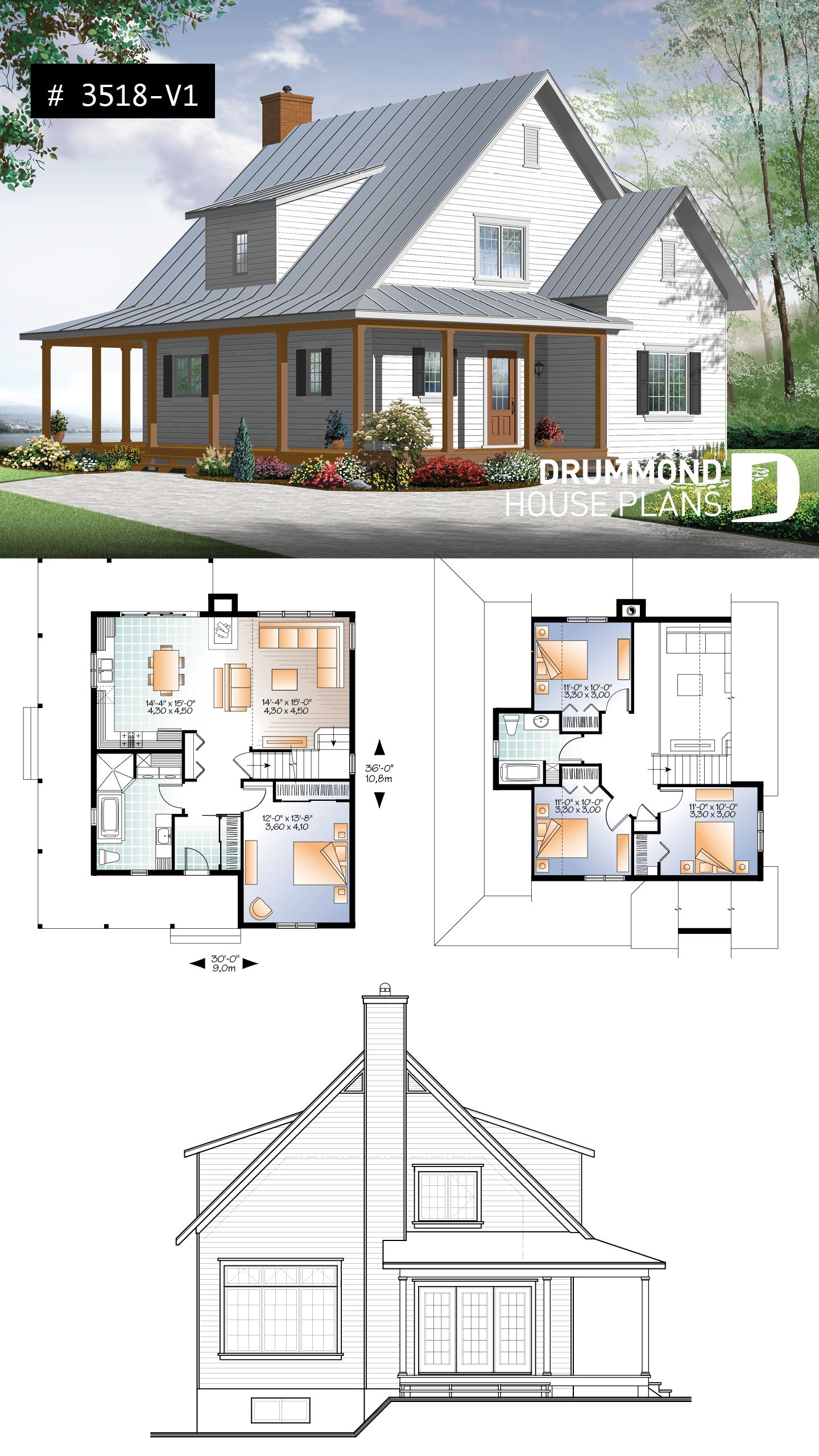 Discover The Plan 3518 V1 Hickory Lane 2 Which Will Please You For Its 4 Bedrooms And For Its Farmhouse Styles Affordable House Plans Craftsman House Plans Cottage House Plans