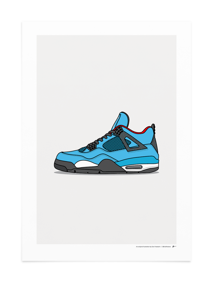 Jordan 4 X Travis Scott Cactus Jack Sneakers Drawing Sneakers Wallpaper Sneaker Posters