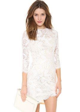 White Long Sleeve Floral Crochet Bodycon Dress US$30.67