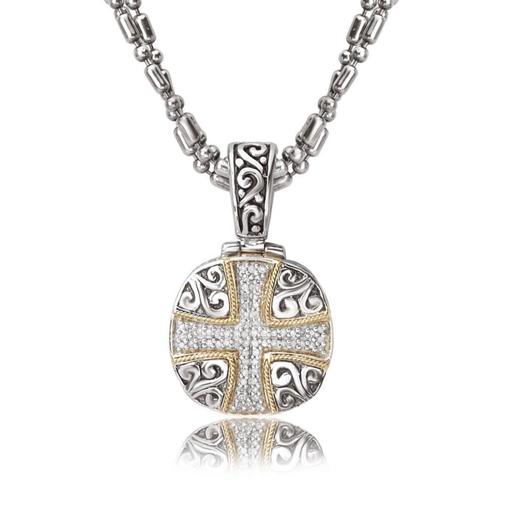 Avanti Sterling Silver and 18K Yellow Gold 1/4 CT TDW Diamond Cross Design Cushion Pendant Necklace