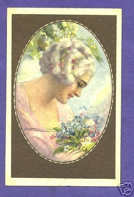 P1180 Corbella Postcard Woman with Forget Me Nots | eBay