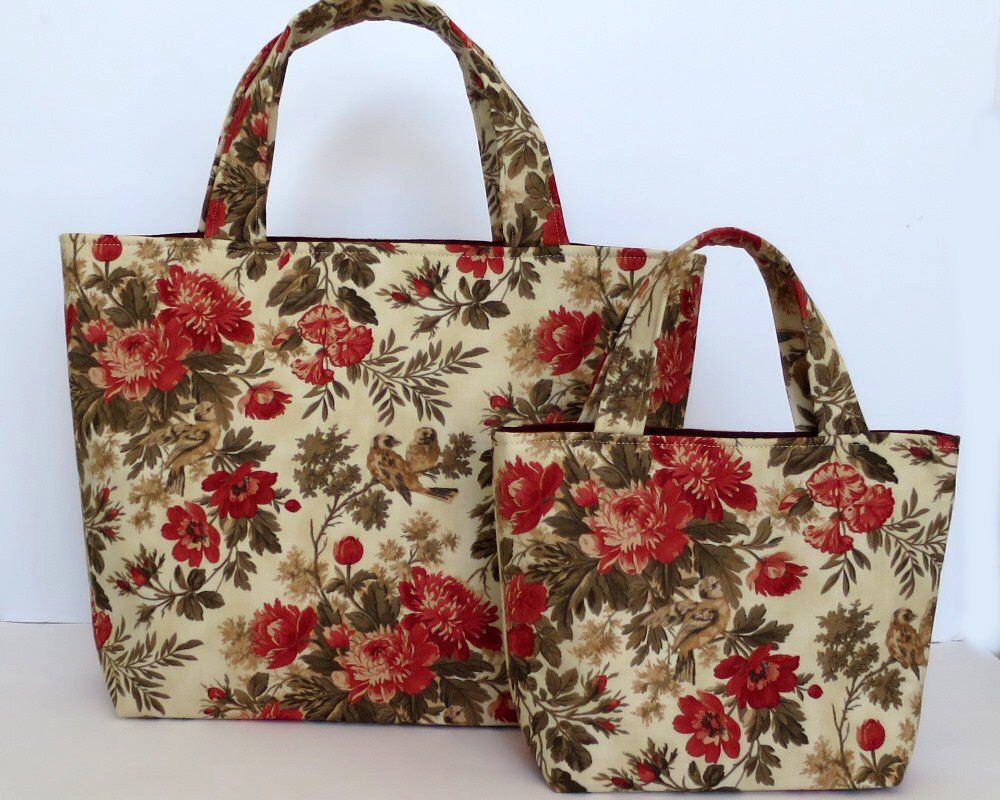 Mummy And Me Bag Set Pretty Fl Birds Fabric Gift For Wife